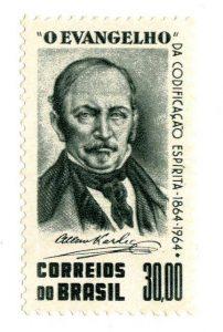 Timbre brésilien de 1964 (centenaire de L'Évangile selon le spiritisme).