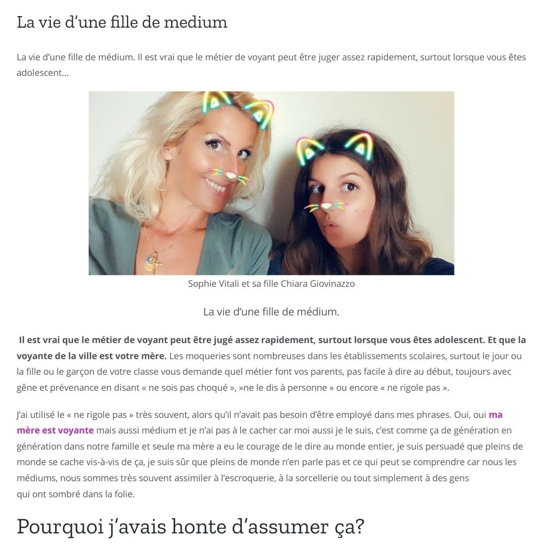 Sophie Vitali et sa fille Chiara Giovinazzo auteure de l'article: La vie d'une fille de médium.