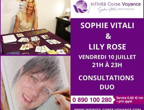 Sophie Vitali et Lily Rose en consultation de voyance en DUO tous les vendredis
