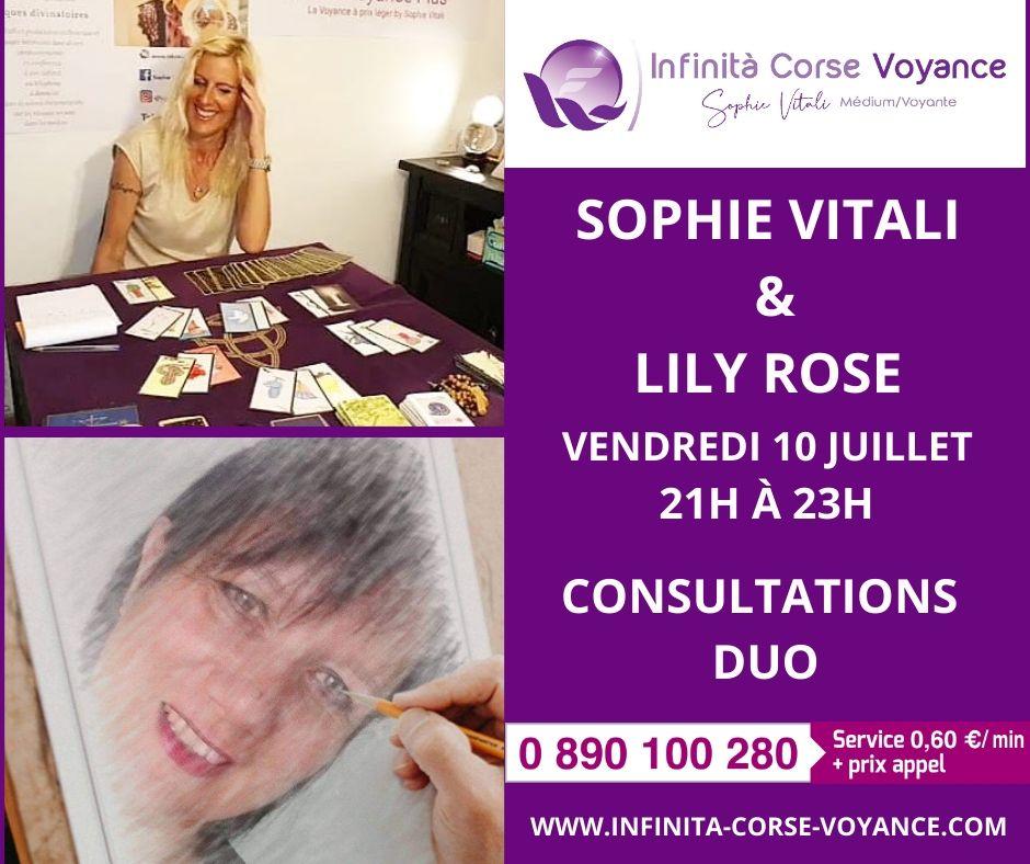 Sophie Vitali et Lily Rose vous proposent des consultations de voyance en duo au même tarif en simultané.