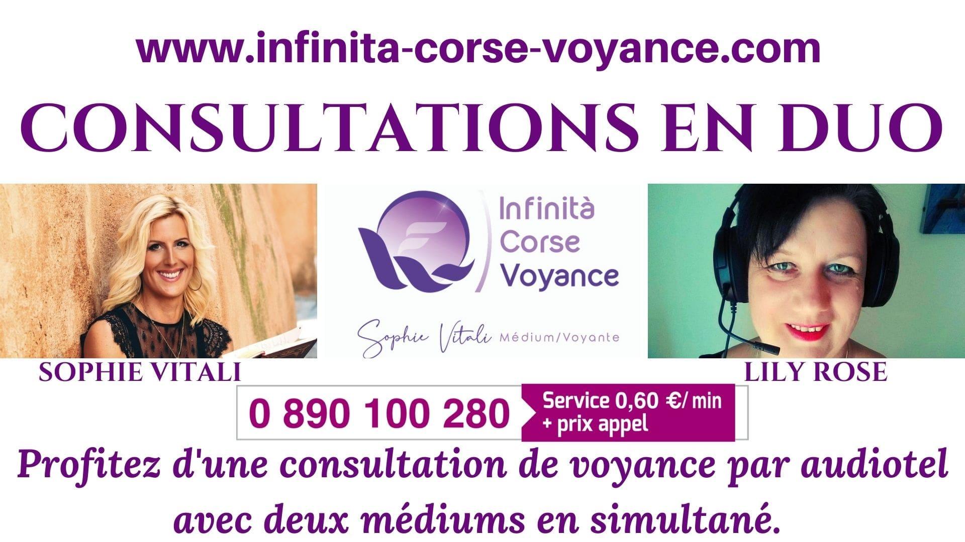 Consultations de voyance en duo par audiotel avec Sophie Vitali et Lily Rose