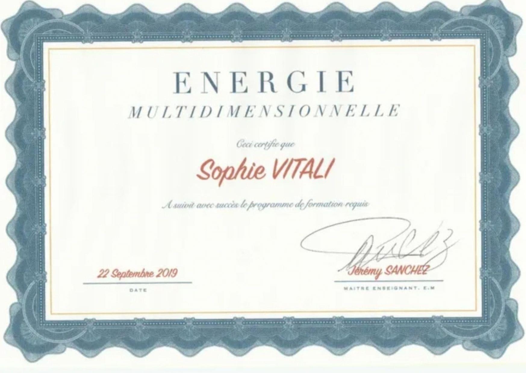 Diplôme de Sophie Vitali chamane / Energies multi-dimensionnelles / Infinità Corse Voyance