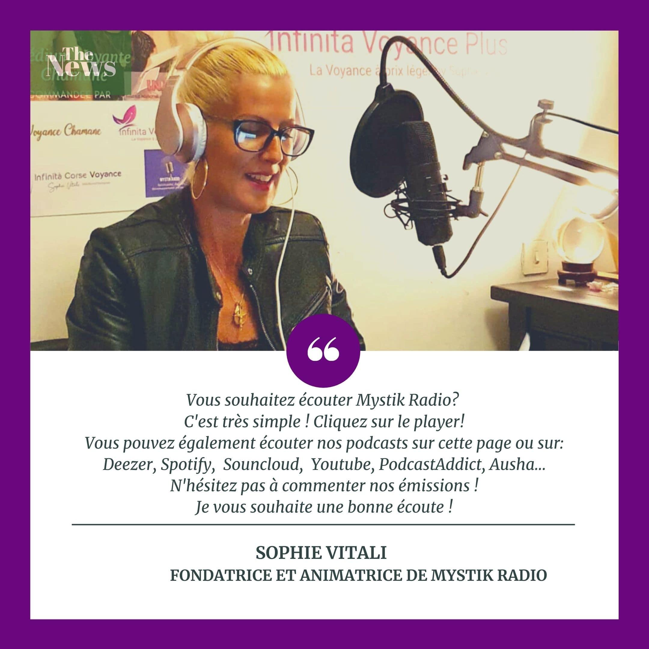 Sophie Vitali animatrice radio et créatrice de Mystik Radio
