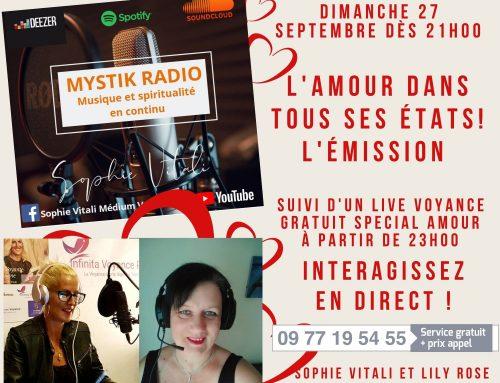 L'amour dans tous ses états ! L'émission en direct sur Mystik Radio le 27/10/2020
