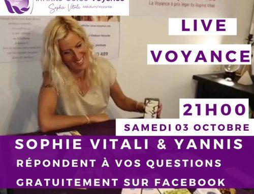 Sophie Vitali en live voyance gratuite sur Facebook le 03/10/2020 dès 21H00.