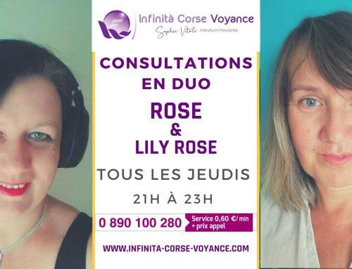 Retrouvez Lily Rose et Rose, deux médiums spirit en consultation duo par audiotel