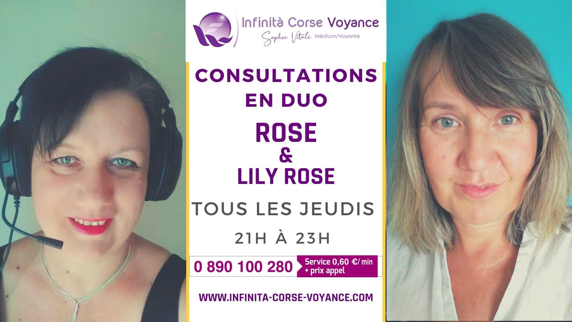 Lily Rose et Rose en consultation duo par audiotel tous les jeudis de 21H00 à 23H00 / Infinità Corse Voyance