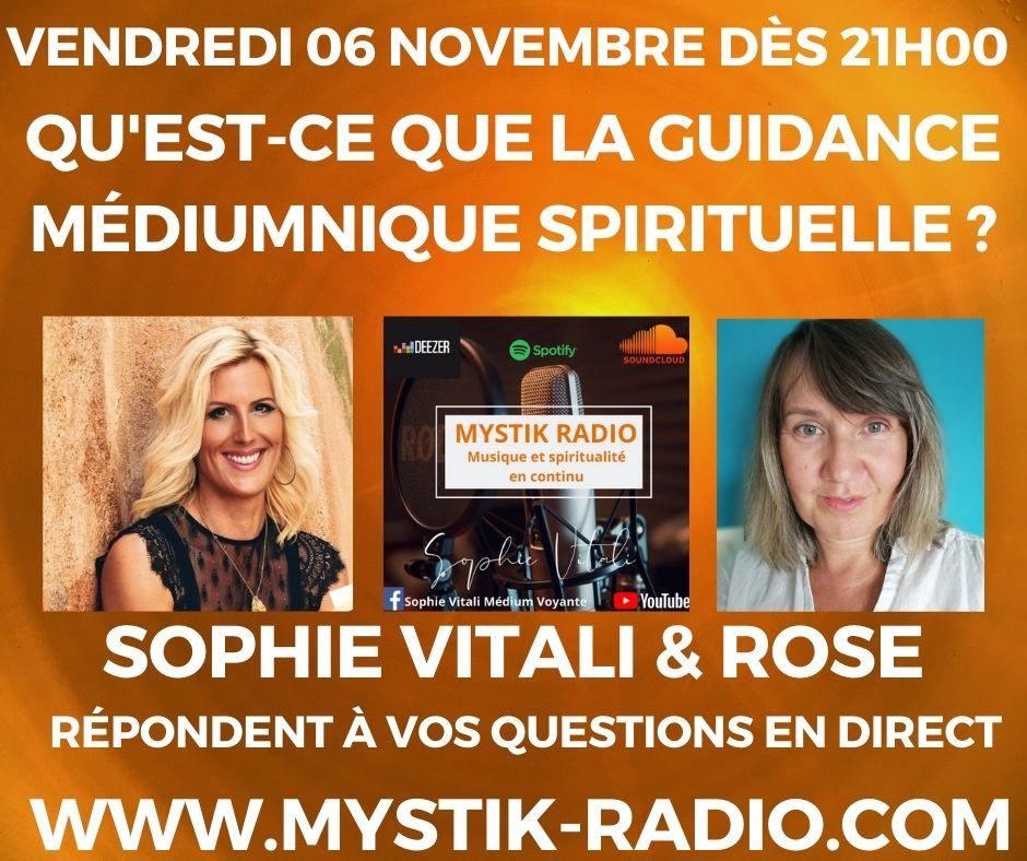 Qu'est-ce que la guidance médiumnique spirituelle ? en direct sur Mystik Radio / Sophie Vitali