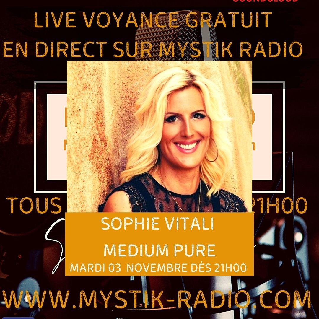 Sophie Vitali en live voyance gratuite sur Mystik Radio
