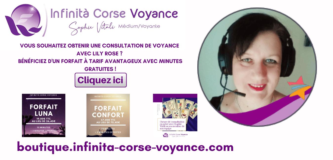 Consultations privées avec forfaits à tarifs avantageux avec Lily Rose médium spirit chez Infinità Corse Voyance