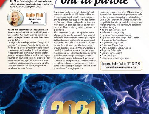 Connaissez-vous l'astrologie chinoise ? par Sophie Vitali dans le magazine Vous et votre avenir janvier 2021