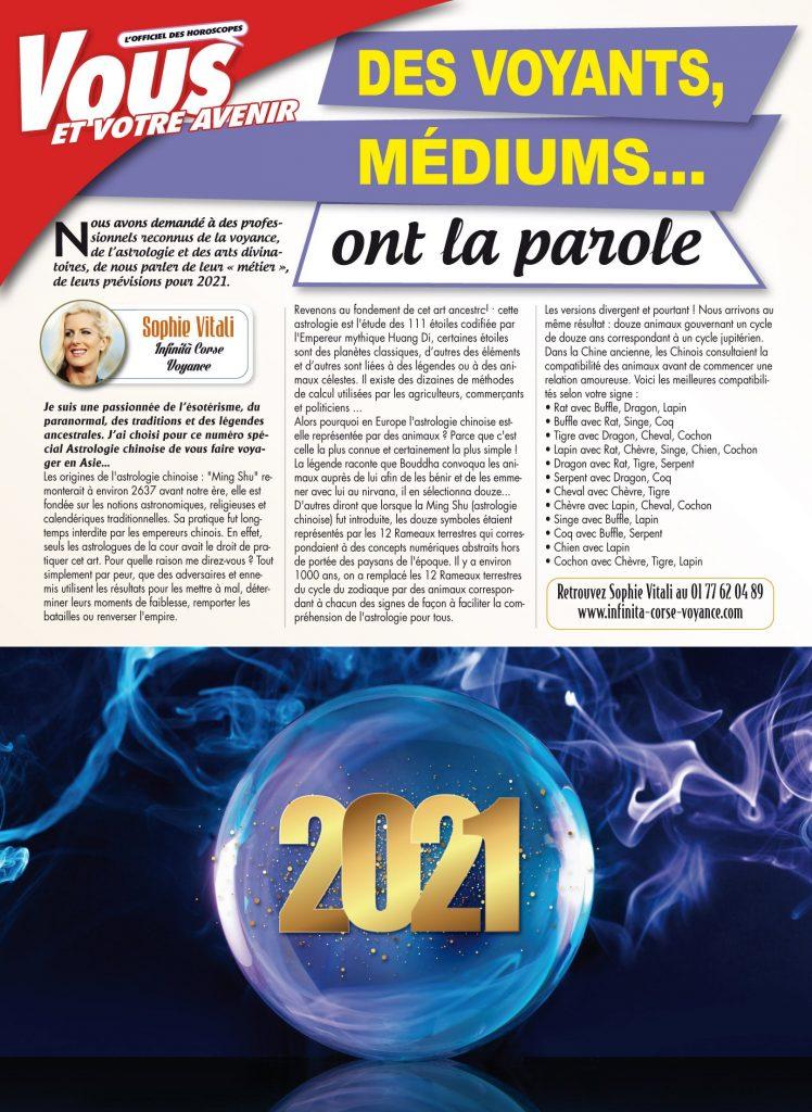 Sophie Vitali médium article sur l'astrologie chinoise dans le magazine Vous et votre avenir janvier 2021