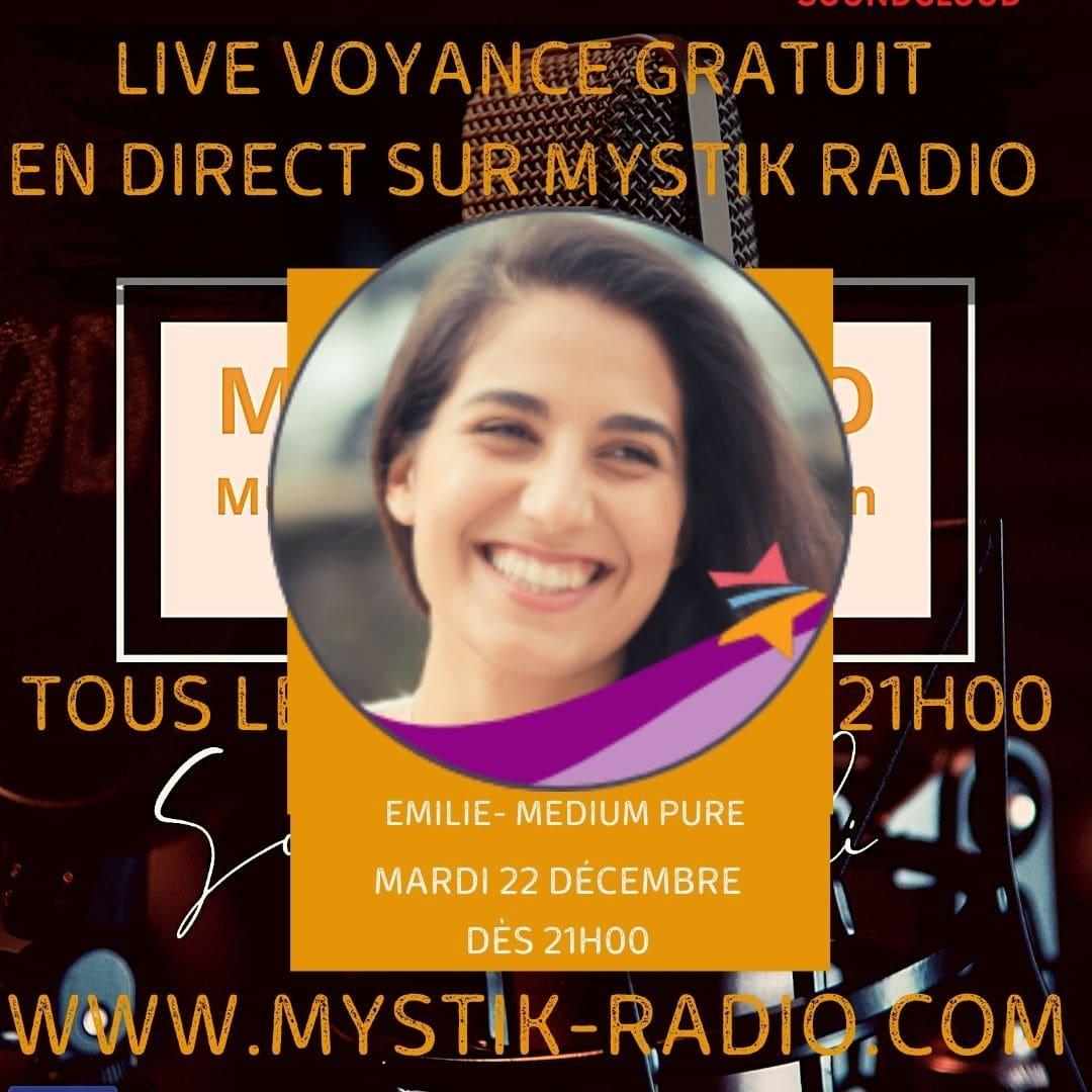 Live voyance gratuit en direct sur Mystik Radio avec Emilie médium spirit et cartomancienne chez Infinità Corse Voyance