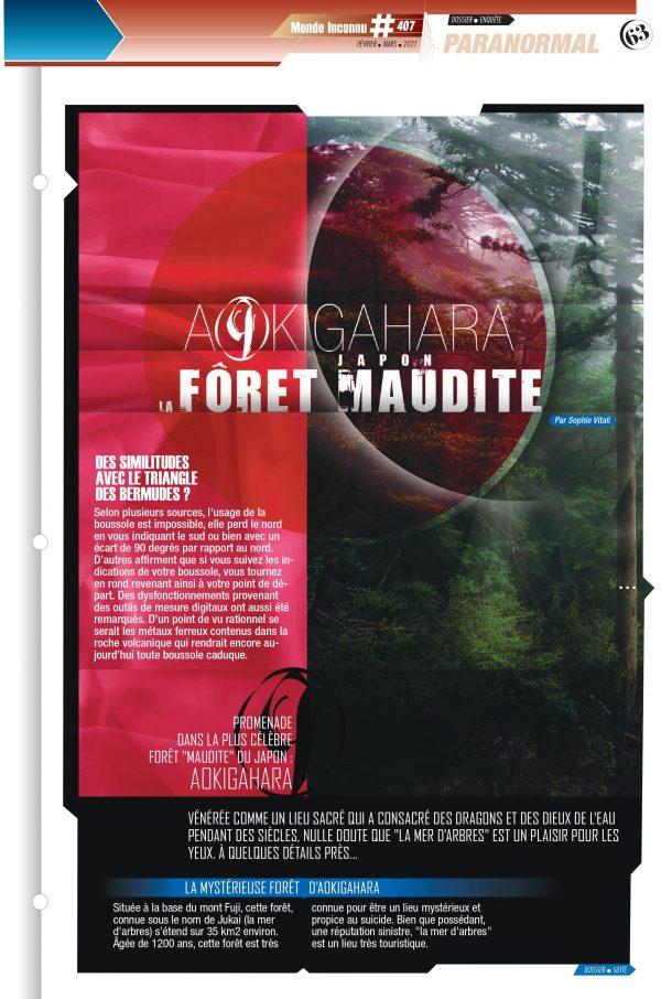 """La forêt maudite d'Aokigahara par Sophie Vitali pour le magazine """"Monde Inconnu"""" février 2021."""