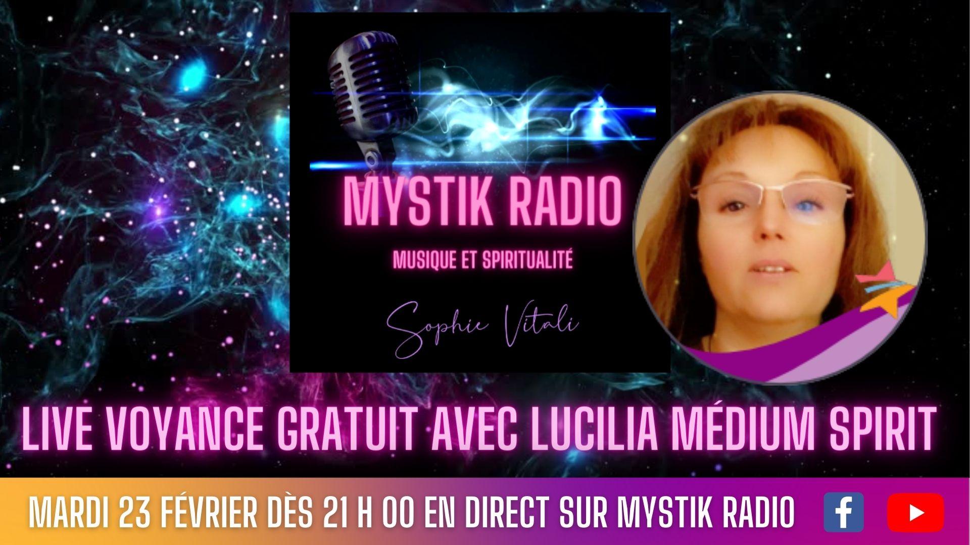 Lucilia médium spirit chez Infinità Corse Voyance en live voyance gratuite sur Mystik Radio et en simultané sur Youtube et Facebook