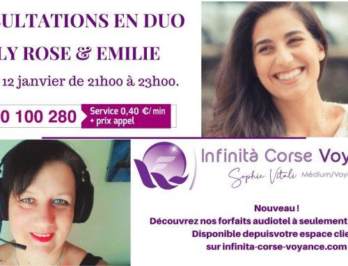 Lily Rose et Emilie médiums spirit en consultations de voyance en duo 12.01.2021