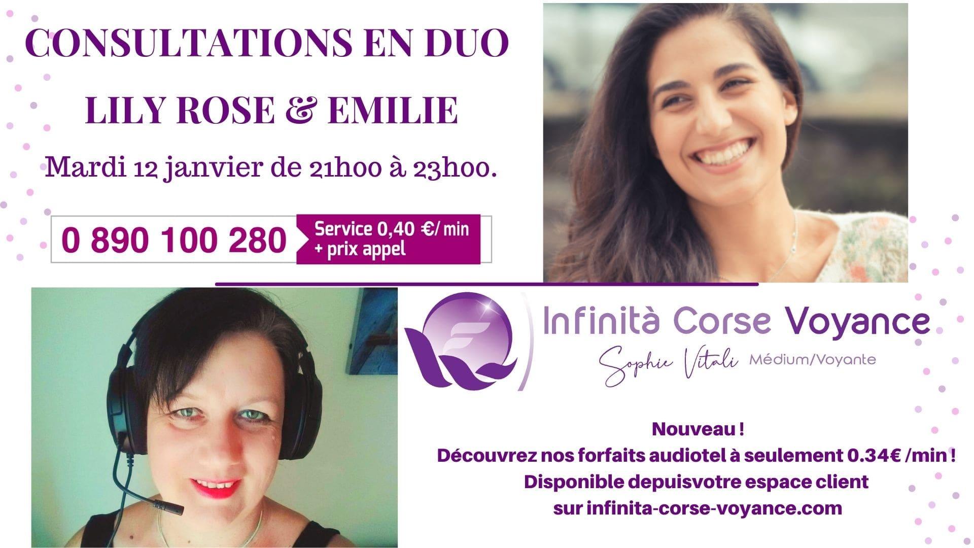 Lily Rose et Emilie médiums spirit en consultation de voyance par audiotel discount