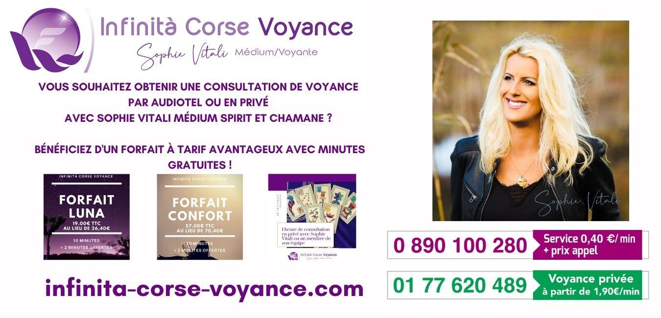 Sophie Vitali médium corse, parapsychologue, chamane et conférencière disponible depuis la Corse, la France, La belgique et la Suisse.