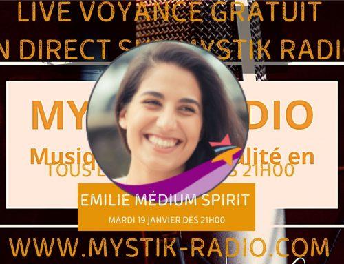 Live voyance gratuite avec Emilie médium spirit et cartomancienne en direct sur Mystik Radio 19.01.2021