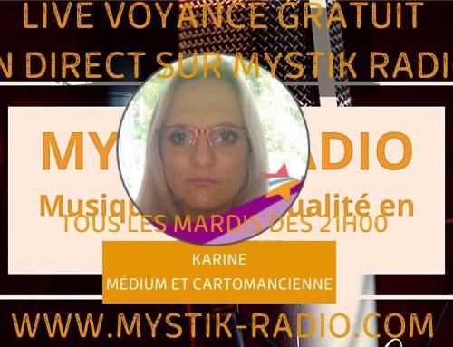 Live voyance gratuite avec Karine médium et cartomancienne chez Infinità Corse Voyance en direct sur Mystik Radio  16.02.2021