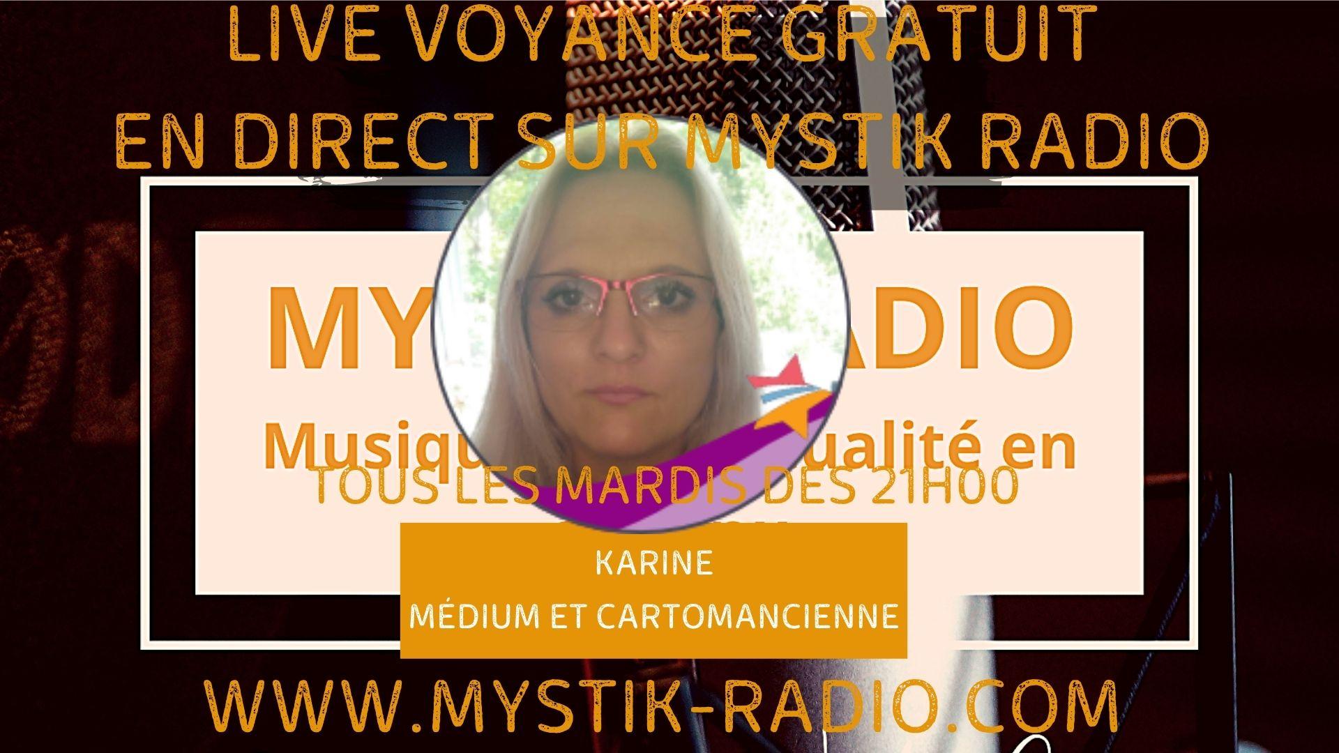 Live voyance gratuite avec Karine médium et cartomancienne chez Infinità Corse Voyance en direct sur Mystik Radio