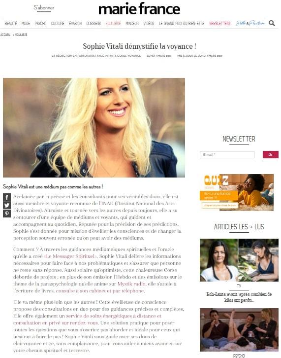 Sophie Vitali médium et voyante corse dans le magazine Marie France Mars 2021