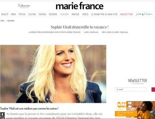 Sophie Vitali démystifie la voyance ! Article magazine Marie France mars 2021