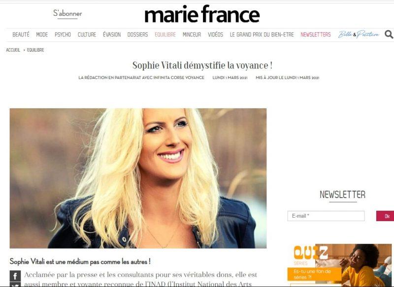 Sophie Vitali médium et voyante corse dans le magazine Marie France