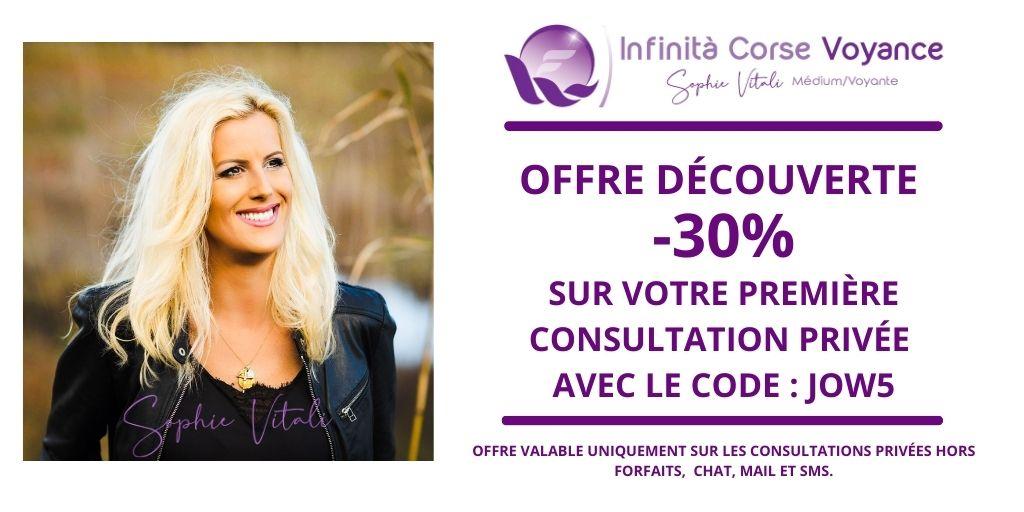 -30% sur votre première consultation de voyance en privé avec Sophie Vitali et son équipe