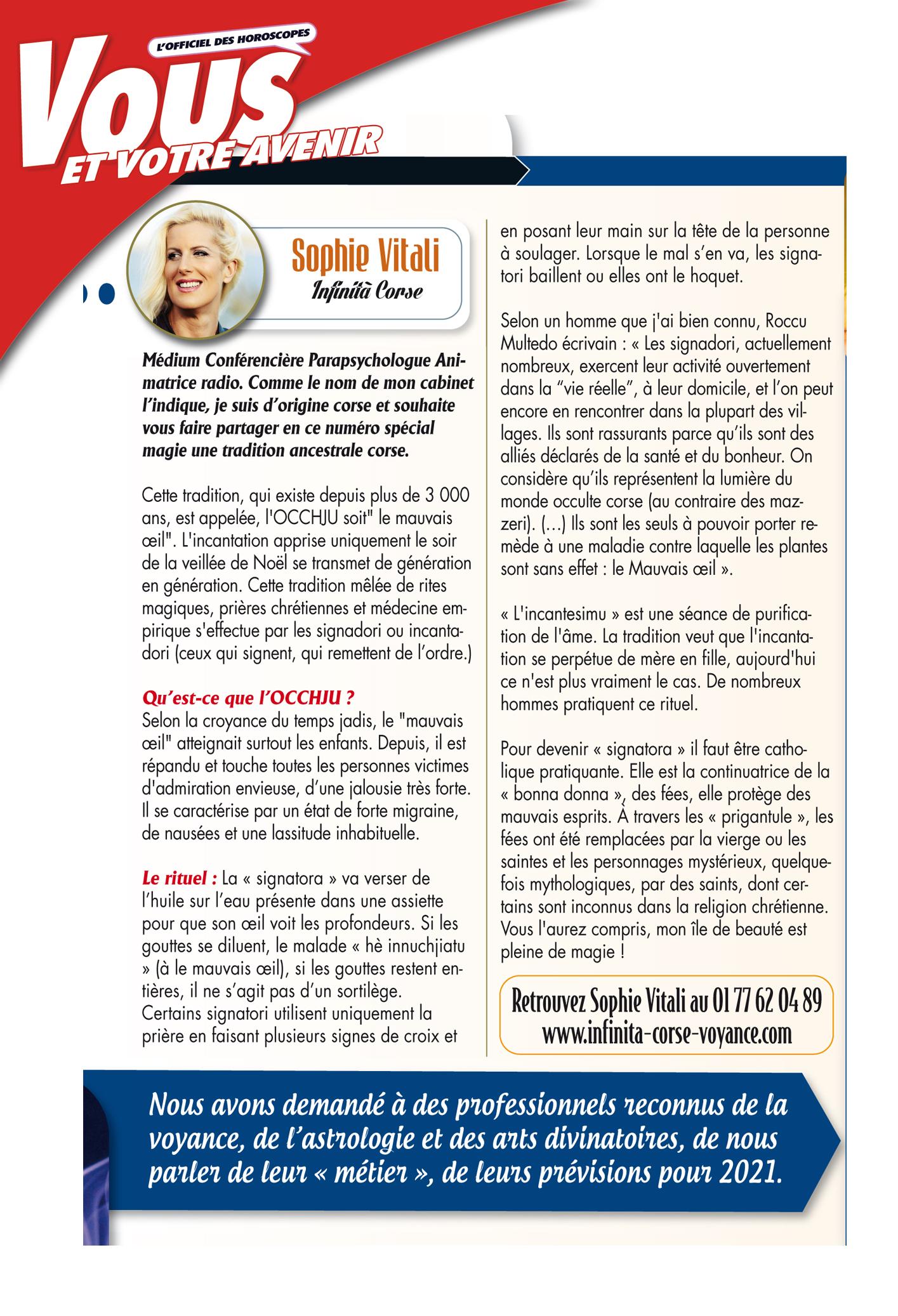 Sophie Vitali parapsychologue pour le magazine Vous et votre avenir spécial magie mars 2021