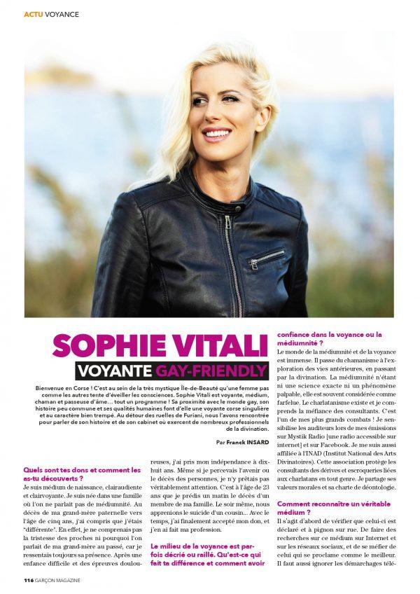 """Sophie Vitali médium et voyante corse en interview dans le magazine """"Garçon Magazine"""""""