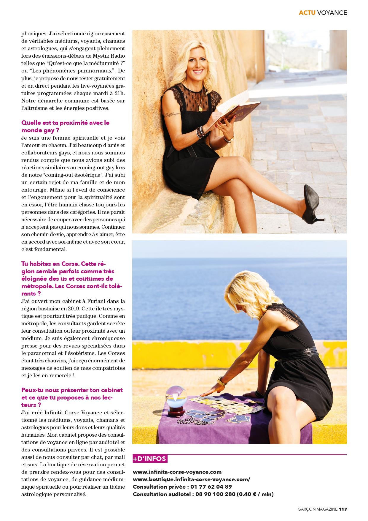 """Sophie Vitali médium et voyante corse en interview dans le magazine """"Garçon Magazine"""" mars 2021"""