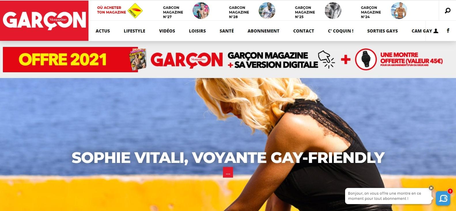 Sophie Vitali voyante gay-friendly en interview dans Garçon Magazine