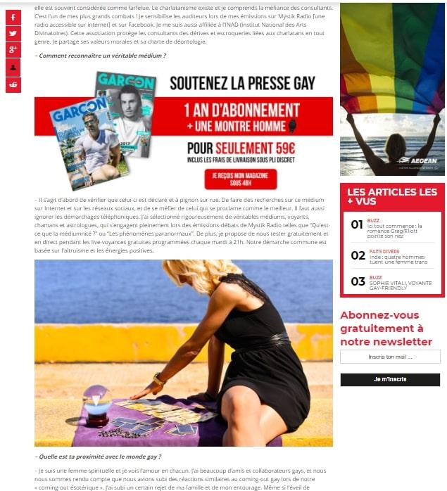Sophie Vitali médium et voyante corse en interview pour Garçon Magazine
