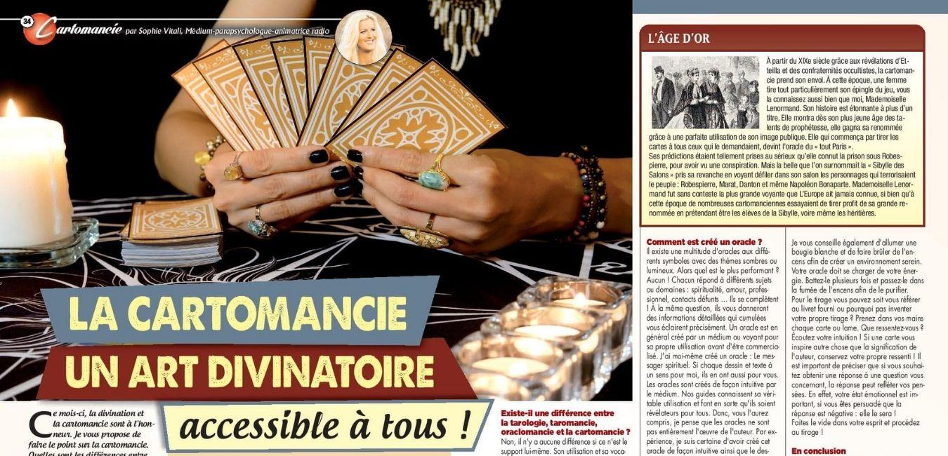 Sophie Vitali vous parle de cartomancie dans le magazine Vous et votre avenir spécial voyance avril 2021