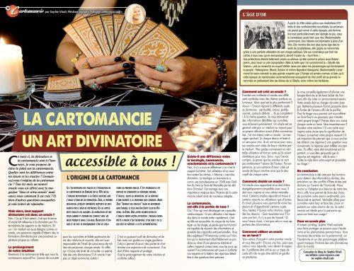 La cartomancie, un art divinatoire accessible à tous ! par Sophie Vitali pour le magazine Vous et votre avenir Avril 2021