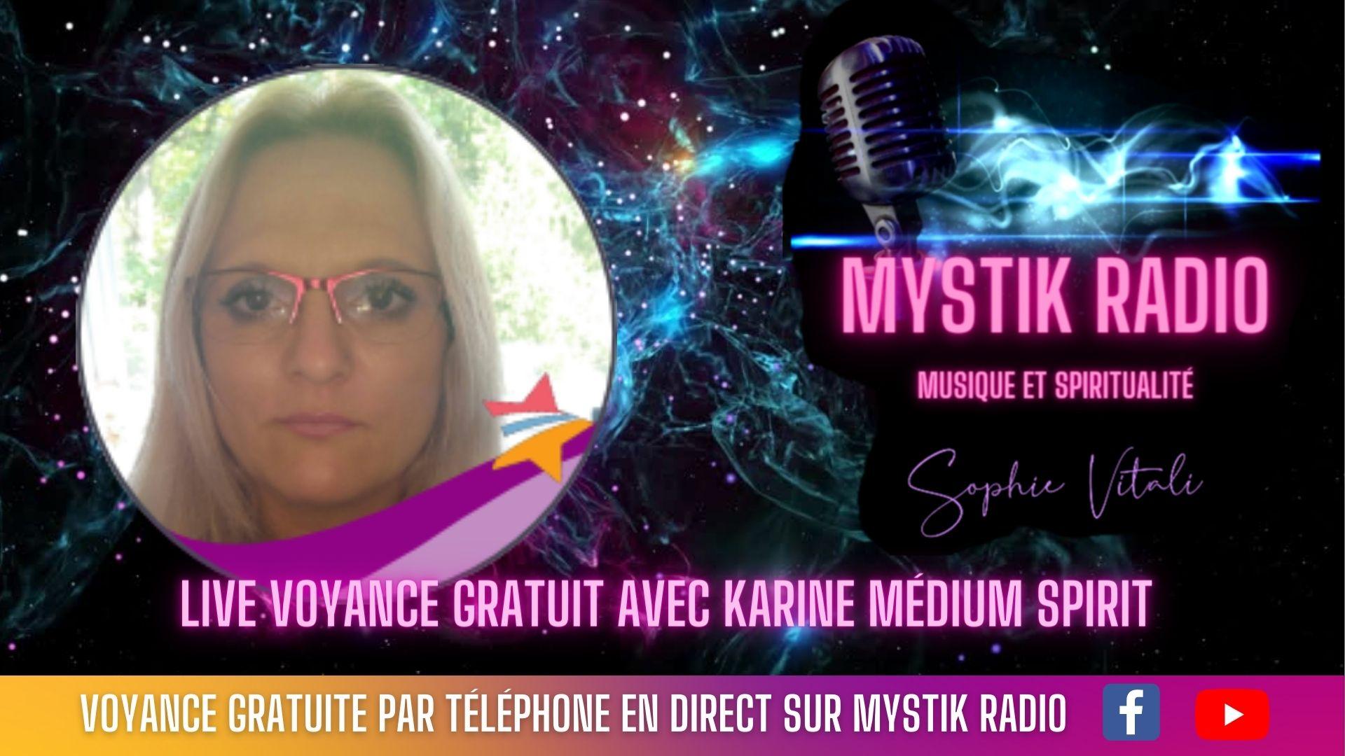 Voyance gratuite en ligne avec Karine médium spirit sur Mystik Radio