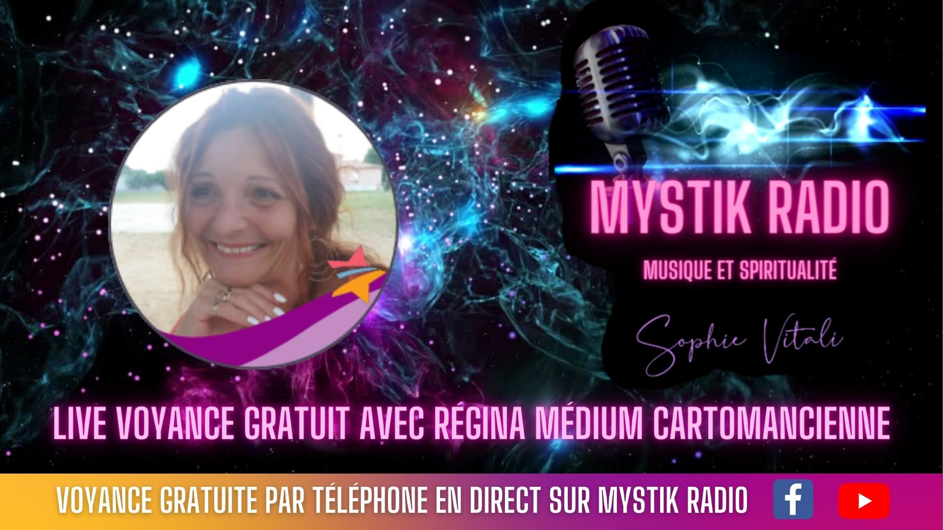 Retrouvez Régina médium et cartomancienne en direct sur Mystik Radio et en simultané sur Facebook et YouTube !