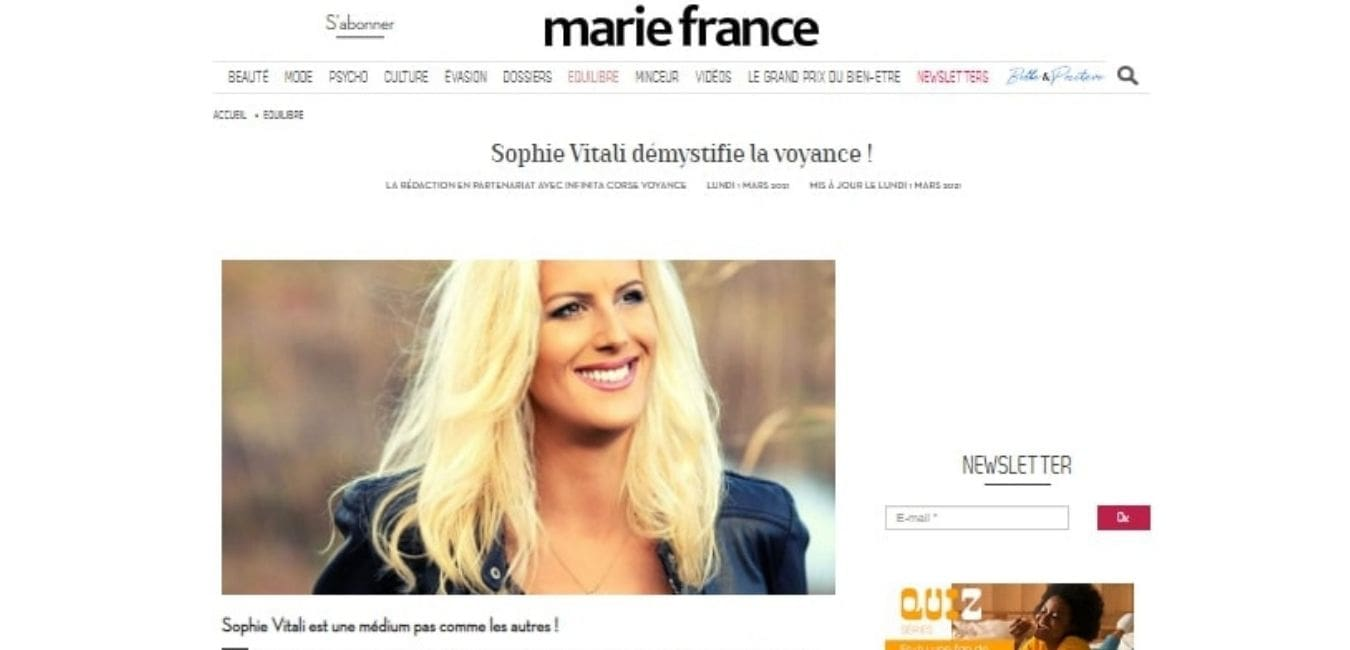 Sophie Vitali une médium pas comme les autres ! / Magazine Marie France
