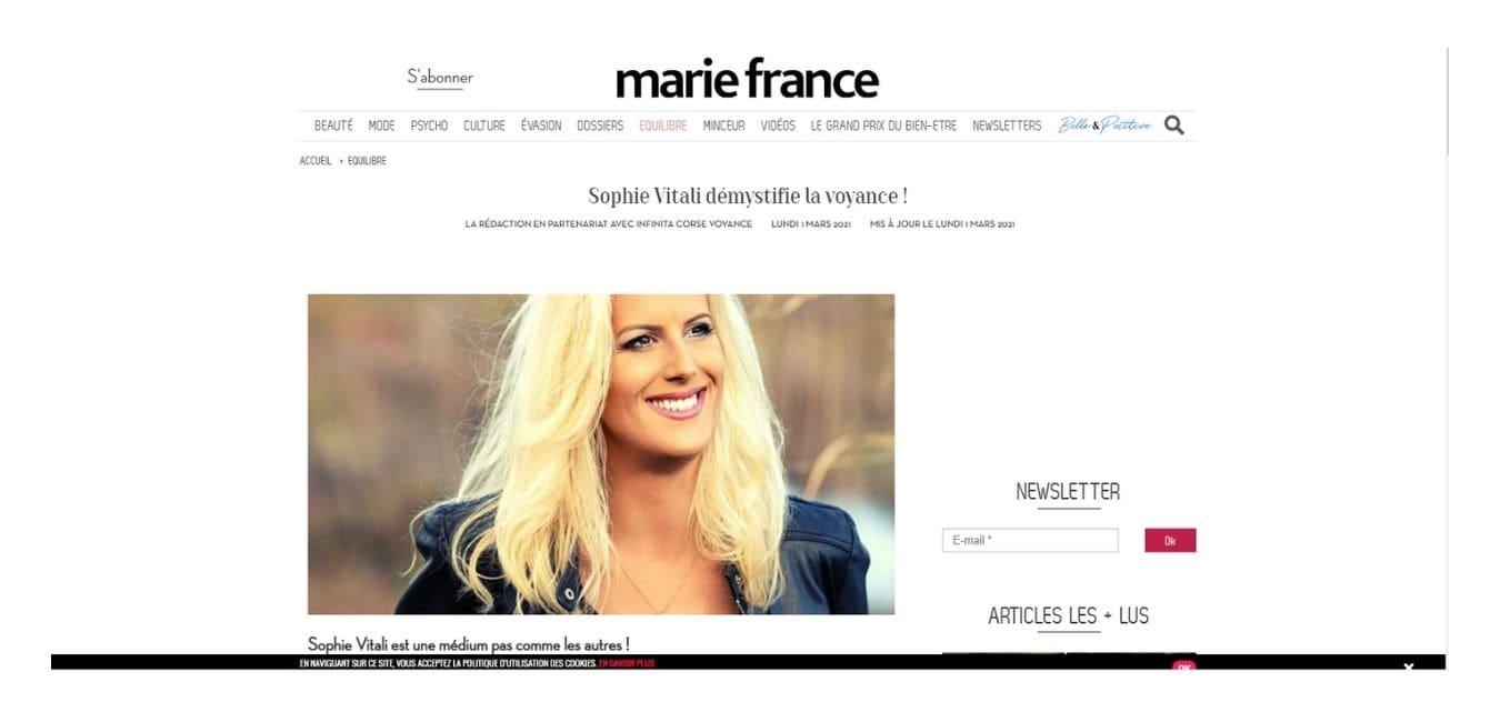 Sophie Vitali en interview dans le magazine Marie France