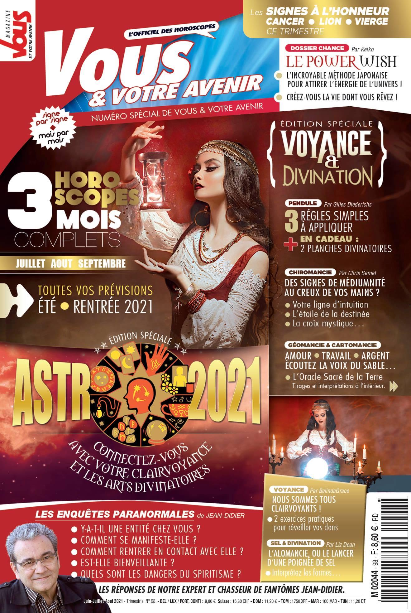 Retrouvez Sophie Vitali célèbre médium et voyante corse pour un nouvel article dans le nouveau numéro de Vous et votre avenir juin 2021