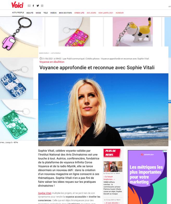 Sophie Vitali célèbre voyante et médium sur le site voici.fr