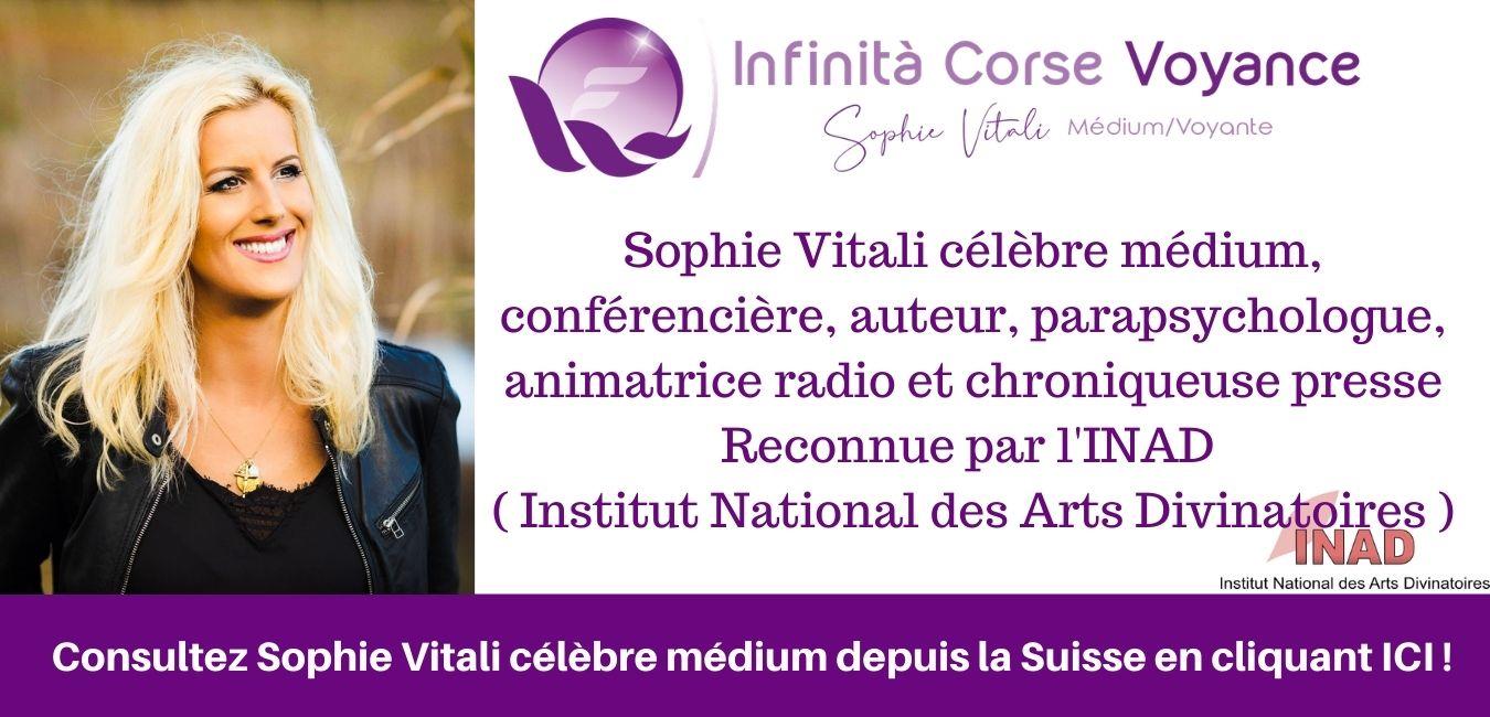 Consultation de voyance par téléphone en privé en Suisse avec Sophie Vitali célèbre médium, voyante, conférencière, animatrice radio, parapsychologue et chroniqueuse presse sur rendez-vous