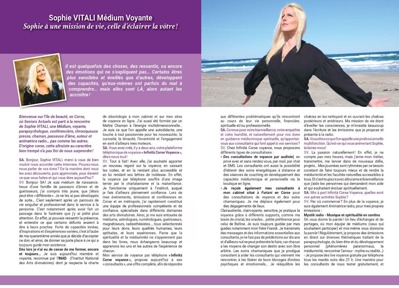 Interview Sophie Vitali médium et voyante corse dans le magazine Séniors Actuels juin 2021
