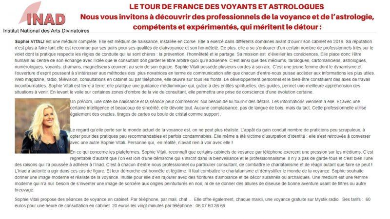 Tour de France des voyants et astrologue de l'INAD : Sophie Vitali médium