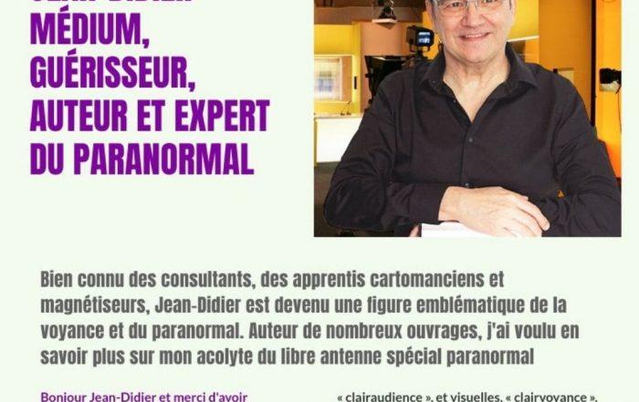 Jean-Didier célèbre médium et auteur répond aux questions de Sophie Vitali pour le magazine Infinità