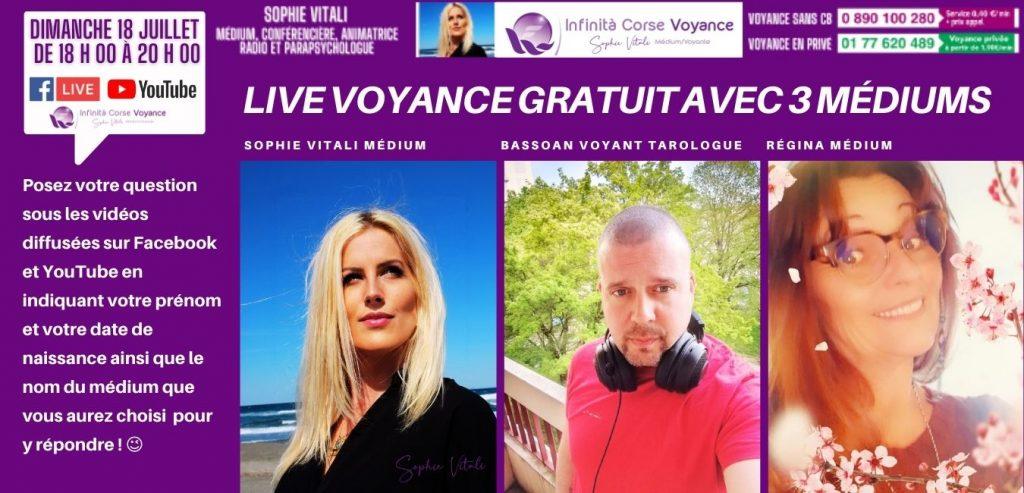 Voyance gratuite en direct sur Facebook et YouTube avec Sophie Vitali, Régina et Bassoan