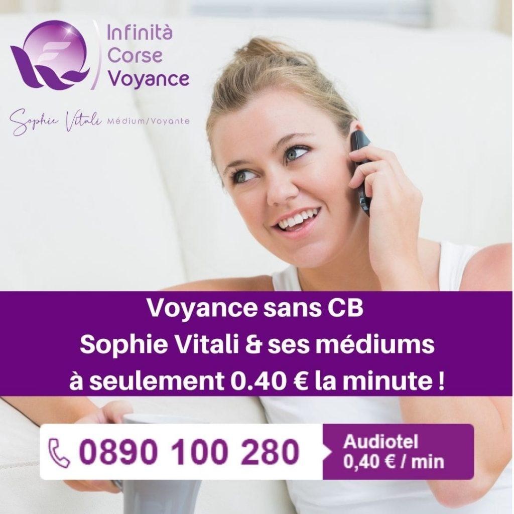 Voyance sans CB avec Sophie Vitali spécialiste de la voyance discount par téléphone