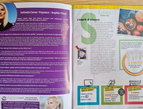 Réponse A TOUT Magazine parle de Sophie Vitali médium / Octobre 2021