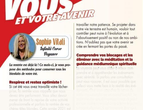 Sophie Vitali vous invite à être positif dans le magazine Vous et votre avenir de septembre 2021.